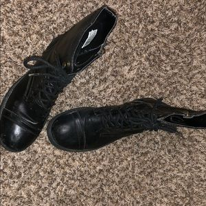 Black military style boots